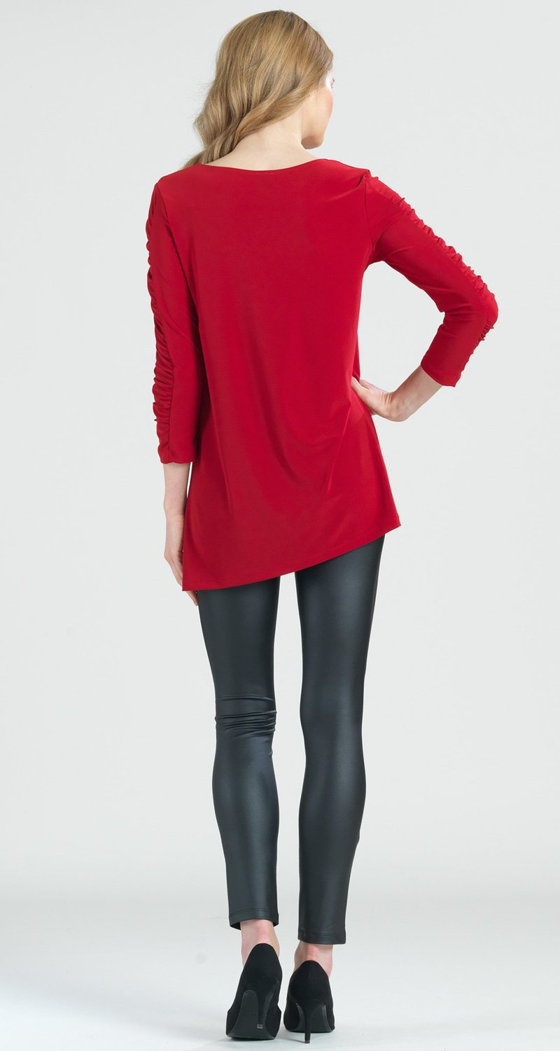 Clara Sun Woo Ruched Sleeve Angle Hem Tunic The Strawberry Shop